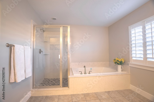 Fotografie, Obraz  Shower stall and built in bathtub inside a bathroom with light gray wall