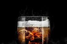 Soft Drink Glass With Ice Spla...