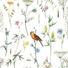 Naklejka Liście Watercolor floral pattern