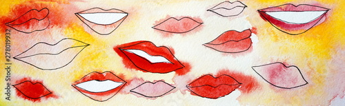 Drawing of bright red orange pink lips - 278019932