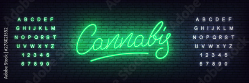 Fototapeta Cannabis neon sign. Glowing lettering cannabis for hemp, marijuana shop or businnes obraz