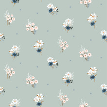 Flowers Vintage Colors Seamless Vector Pattern.