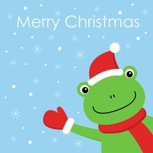 Vector Kawaii Illustration Of A Cartoon Frog With Hat And Scarf In Winter. Greeting Card