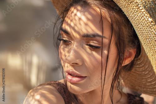 Portrait of beauty girl in summer hat. - fototapety na wymiar