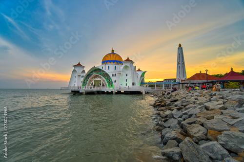 Kuala Lumpur, Malaysia - June 24, 2019: Beautiful sunset over the Malacca Straits Mosque or Masjid Selat Canvas Print