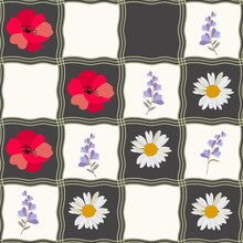 Seamless Checkered Pattern With Daisy, Poppy And Bell Flowers. Patchwork Style. Print For Fabric, Ceramic Tile.