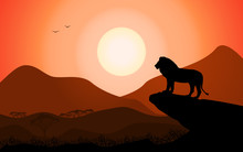 Lion King Standing On A Rock Against A Sunset