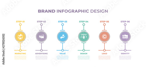 Modern design elements for Brand concept Multicolor infographics.Timeline with 6 steps, options, Circles. Vector template
