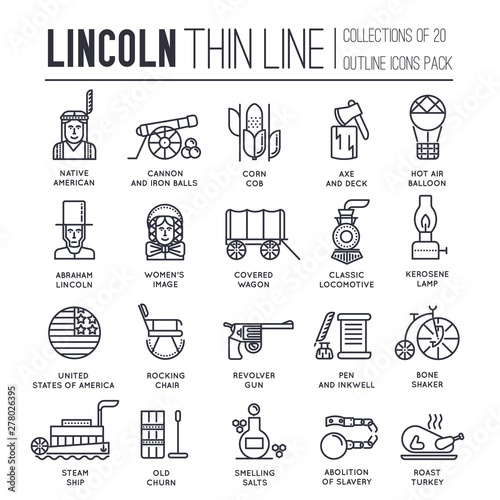 Photographie  Set of President day in USA icons, pictograms.