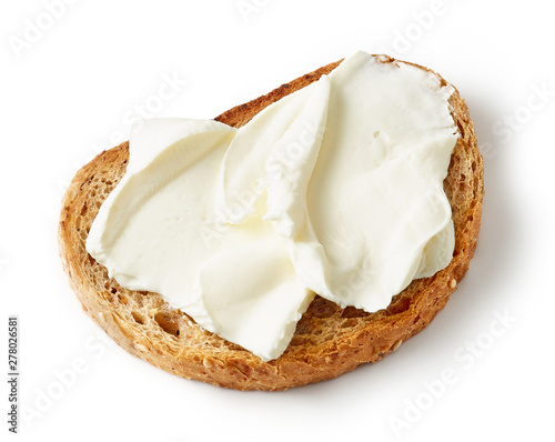 Photo  toasted bread with cream cheese