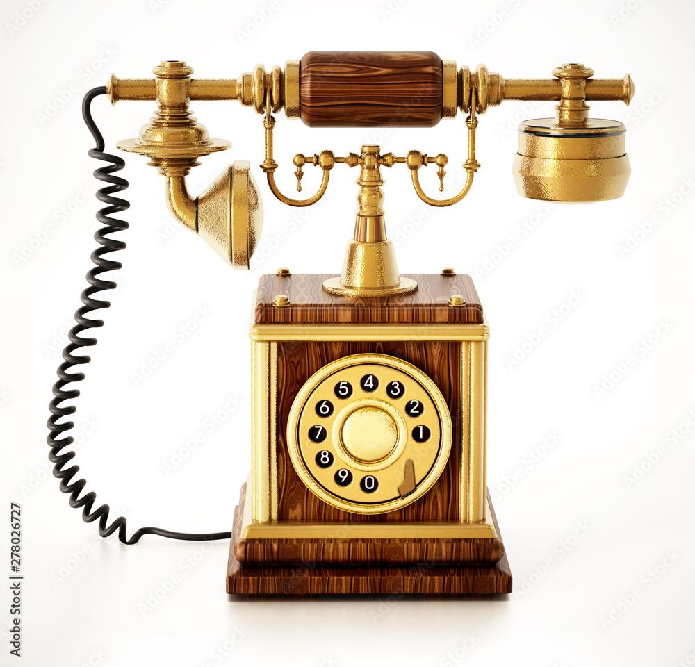 Fototapeta old telephone isolated on white background