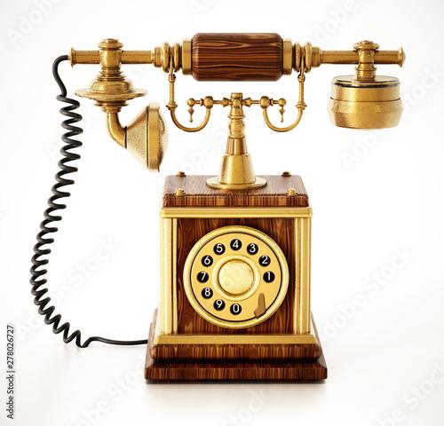 Fototapeta old telephone isolated on white background obraz