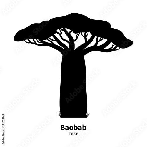 Canvas Print Black baobab tree silhouette