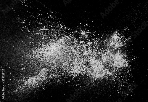 White powder isolated on black background, top view with clipping path - 278028122