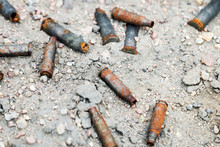 Lots Of Old Rusty Gun Casings ...