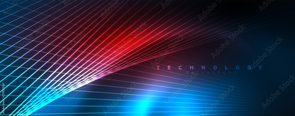 Fototapety, obrazy: Neon blue glowing lines, magic energy space light concept, abstract background wallpaper design