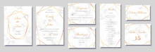 Elegant Wedding Invitations Set With Golden Geometric Frames And Gray Marble Texture. Luxury Invitation Collection With Save The Date, Rsvp, Menu, Table Number And Name Card Vector Templates.