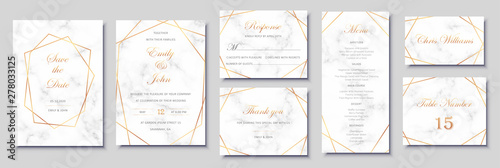 Fototapeta Elegant wedding invitations set with golden geometric frames and gray marble texture. Luxury invitation collection with save the date, rsvp, menu, table number and name card vector templates. obraz
