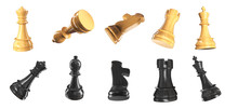 All Chess Pieces 3D Render Illustration Isolated On White Background