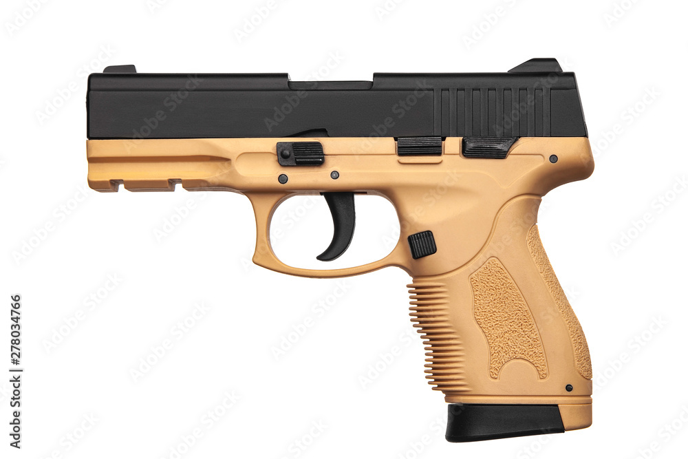 Fototapety, obrazy: Black brown gun pistol isolated on white back