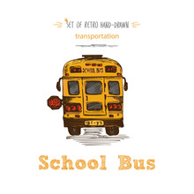 Hand Drawn Yellow School Bus Symbol Isolated On White Background. With Text School Bus. Vintage Background. Good Idea For Chalkboard Design