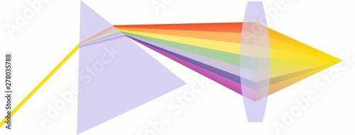 Valokuva  Illustration of  refraction prism and a light collection lens