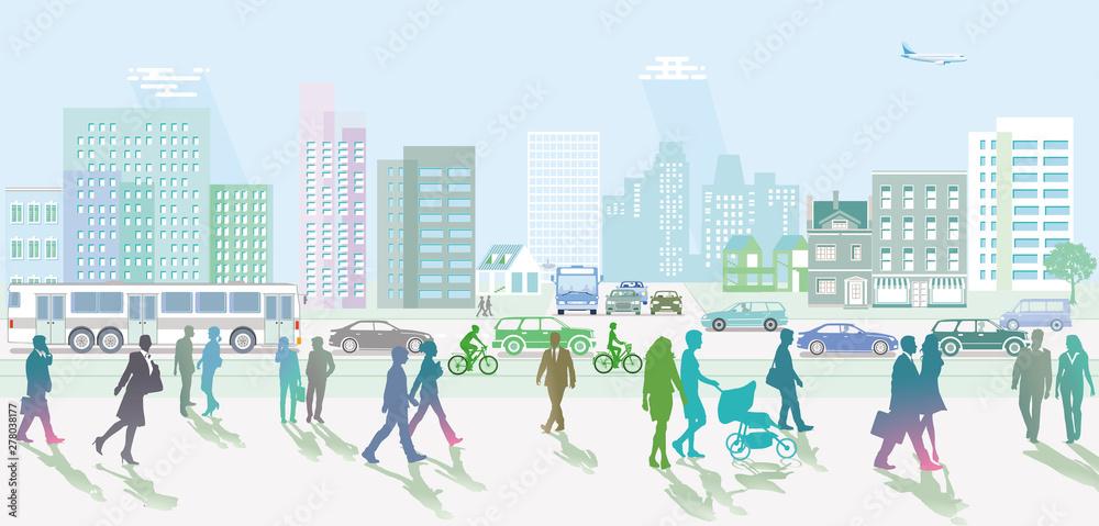 Fototapeta Stadt mit Personen und Fußgänger