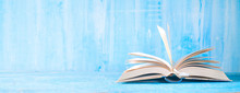 Open Book, Close Up On Blue Grungy Background,reading, Education, Literature,learning, Good Copy Space