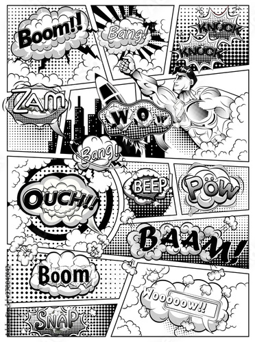 Black and white comic book page divided by lines with speech bubbles, rocket, superhero and sounds effect. Vector illustration