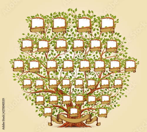Photo Family Tree template vector illustration