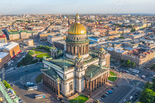 Aerial view of St. Isaac's Cathedral and the historic part of the city of Saint-Petersburg evening sunlight. #278050728