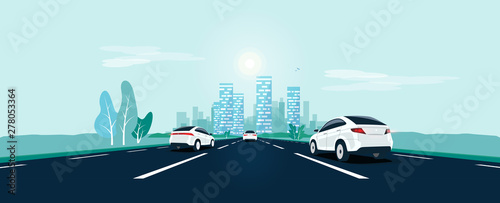 Fotobehang Cartoon cars Traffic on the highway panoramic perspective horizon vanishing point view. Flat vector cartoon style illustration urban landscape street with cars, skyline city buildings and road going to the city.