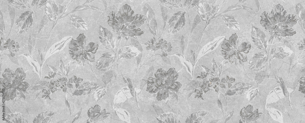 Fototapeta abstract floral gray background