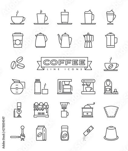 Coffee line icons collection Fototapete