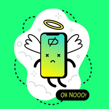 Vector Creative Illustration Of Angel Completely Discharged Smart Phone Character With Face, Wing And Nimbus.