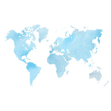 Blue Watercolor Map Of World. Vector Illustration