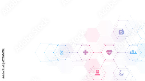 Carta da parati  Medical background with flat icons and symbols