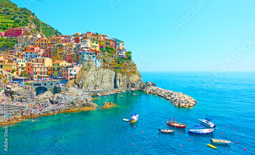 Foto op Canvas Pool Manarola town in Cinque Terre