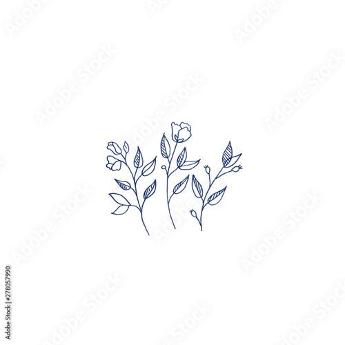 Blue roses cute illustration Tapéta, Fotótapéta