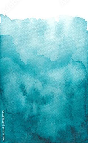 Valokuvatapetti Hand drawn watercolor wash vibrant blue teal background