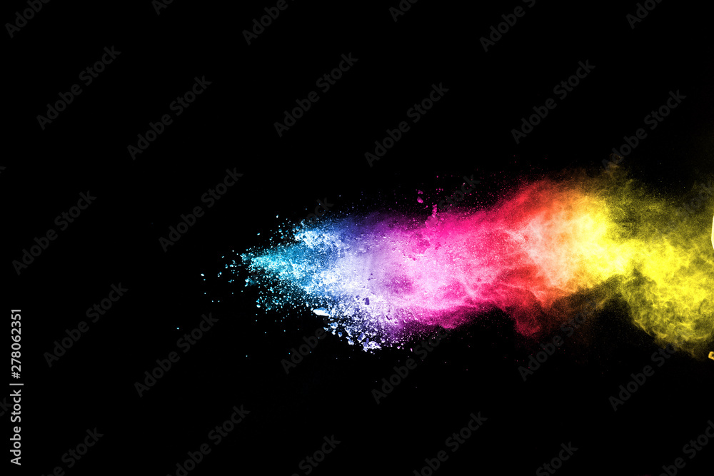 Fototapety, obrazy: Explosion of colored powder isolated on black background. Abstract colored background. holi festival.