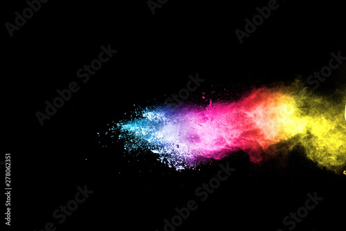 Explosion of colored powder isolated on black background. Abstract colored background. holi festival. - 278062351
