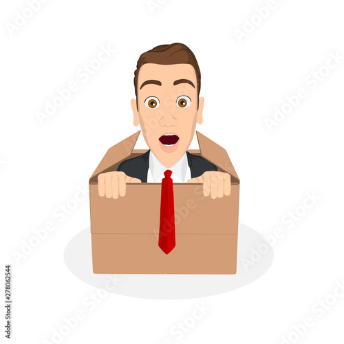 businessman coming out of the box Tablou Canvas