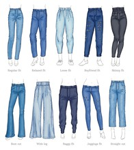 Set Of Female Jeans Models And...