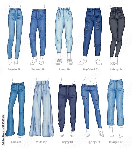 Set of female jeans models and their names sketch style Canvas Print