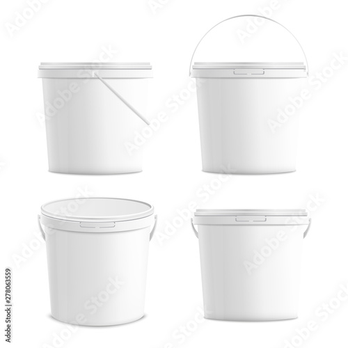 White blank plastic buckets set 3d realistic mockup vector illustration isolated. Wall mural