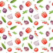 Watercolor Vegetable Seamless ...