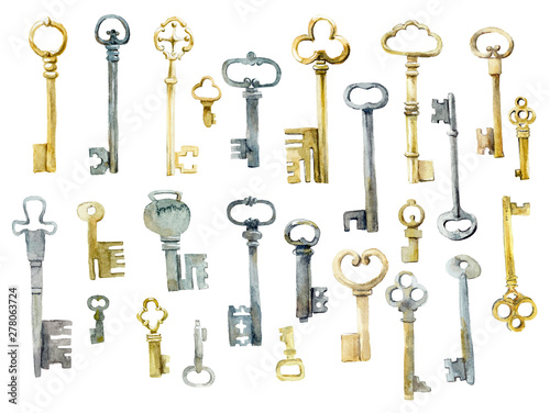 Old forged keys. Watercolor hand drawn illustration Fototapete
