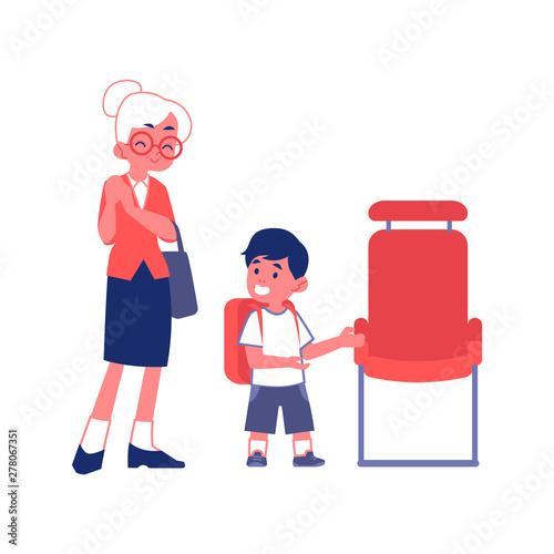 Obraz na plátně Polite boy gives way to an elderly woman flat vector Illustration isolated