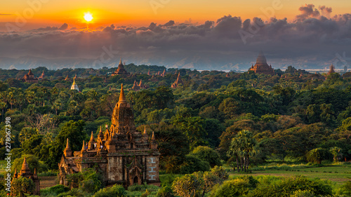 Ancient temple in Bagan after sunset, Myanmar temples in the Bagan Archaeological Zone, Myanmar Canvas Print